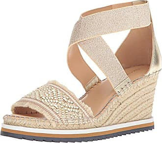 e4d99457b870 Tommy Hilfiger Womens YEMINA Espadrille Wedge Sandal Gold 9.5 Regular US