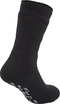 SockShop Mens Heat Holders Extra Warm Thermal Slipper Socks (2.3 Tog) (UK 6-11 EURO 39-45) (Black/Grey)