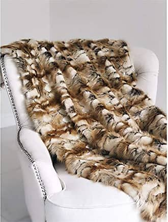 Plutus Brands Brandy Gold and White Faux Fox 60W x 90L Throw