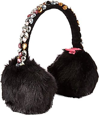Betsey Johnson Womens Bejeweled Faux Fur Earmuff, black ONE SIZE