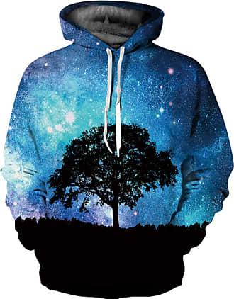 Ocean Plus Mens 3D Funny Hoodie Long Sleeve Multicolor Unisex Hoodie Streetwear Sporty Sweatshirt with Drawstring (S/M (Chest: 112-132CM), Galaxy Tree)