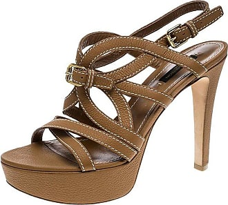 45cd89938369 Louis Vuitton Brown Leather Platform Stappy Sandals Size 39