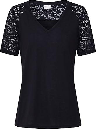 Jacqueline de Yong T-Shirt V-Neck - Black - Medium