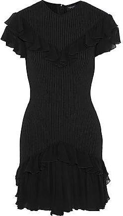 Giambattista Valli Giambattista Valli Woman Ruffled Chiffon-trimmed Ribbed Stretch-wool Mini Dress Black Size 46