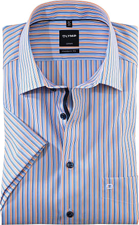 Olymp Luxor Modern Fit Fine Stripe Short Sleeve Shirt - Blue/Multi L Blue/Multi