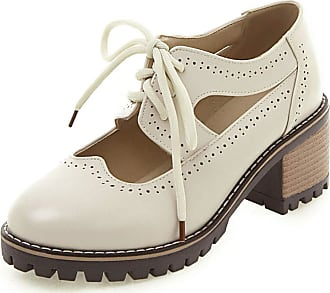 Vimisaoi Womens Brogue Oxfords, Chunky Block Mid Heel Lace-up Cutout Ankle Boots Pumps Loafer Shoes