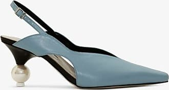 Yuul Yie Womens Blue Doreen 70 Slingback Leather Pumps