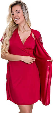Estilo Sedutor Camisola Amamentação Com Robe em Liganete Vermelha - ES206-207