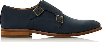 Dune London Dune Mens STOWMARKET Double Buckle Monk Shoes Size UK 11 Navy Flat Heel Monk Shoes