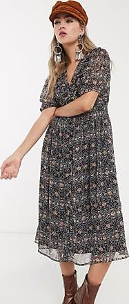 Object puff sleeve midi dress in paisley print-Multi