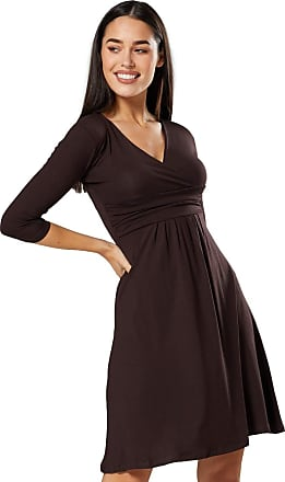 Zeta Ville Glamour Empire. Womens Pleated Dress V-Neck Flared with Empire Waist. 282A (Brown, UK 16, 2XL)