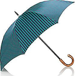 Barneys New York Mens Striped Stick Umbrella - Turquoise