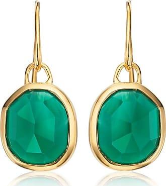 Monica Vinader Siren Wire Green Onyx earrings - GOLD