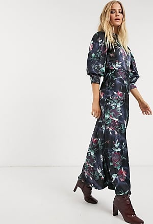 Asos satin high neck maxi dress with cowl back in rose floral print-Multi