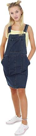 Uskees Short Denim Dungaree Dress - Vintage Wash Bib Overall Pinafore Bib-Skirts WINNIEVW-14