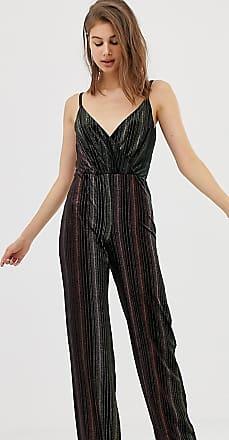 Warehouse velvet jumpsuit in ombre glitter-Black