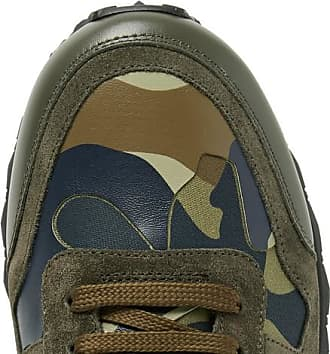 Valentino Valentino Garavani Rockrunner Camouflage-print Canvas, Leather And Suede Sneakers - Green