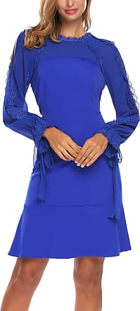 Zeagoo Womens Long Sleeve Elegant Lace Floral Chiffon Patchwork Cocktail Dress with Belt Royal Blue