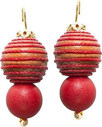 Tinna Jewelry Brinco Dourado Madeira Desenhada (Vermelha)