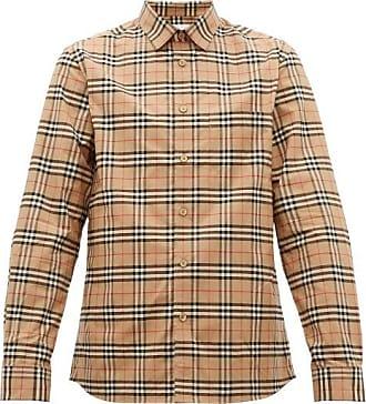 Burberry Simpson Small Scale-check Cotton-blend Shirt - Mens - Beige