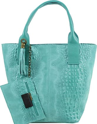 Craze London New Womens Genuine Leather large shoppers Tote Bag,Ladies Large strap Shoulder Tote bag,Branded Bags For Ladies (Turquoise)