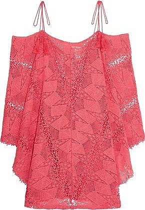 Eberjey Eberjey Woman Cold-shoulder Crocheted Cotton Coverup Pink Size S/M
