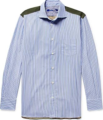 Junya Watanabe Panelled Cotton-poplin And Camouflage-print Ripstop Shirt - Blue