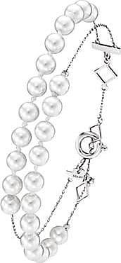 Misaki Bracelet chaine Run rhodié avec perles blanches