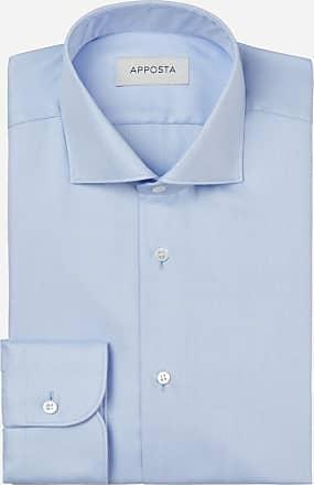 Apposta Camicia tinta unita azzurro 100% cotone anti-macchia chevron doppio ritorto oekotex, collo stile collo francese aggiornato a punte corte