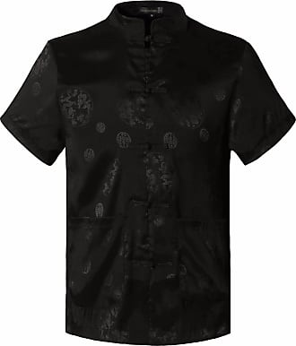 Jeansian Mens Chinese Traditional Tang Shirt Dragon Kung Fu Tai Chi Short Sleeve Tops L900 Black XXXL