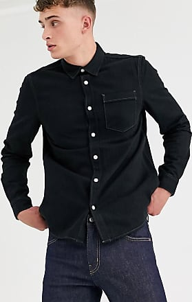 Weekday classic denim shirt in washed black