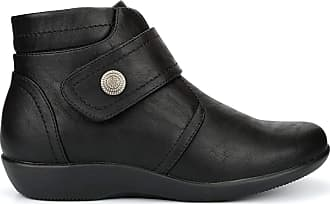 Boulevard Womens Wide Fit Ankle Boots with Touch and Zip Fastening Black (EE Fitting) 6 UK