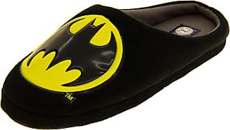 Footwear Studio Mens Batman Black Textile Fleecy Mule Slippers,Black, 9 UK