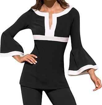 NPRADLA Womens 2020 Split Neck Patchwork Color Long Flare Sleeve Side Slit Blouses Tops Black
