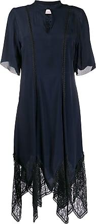 See By Chloé Vestido com acabamento de renda assimétrico - Azul