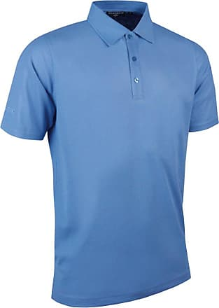 Glenmuir Mens MSP7373 Performance Pique Golf Polo Shirt-Light Blue-X-Large
