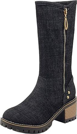 RAZAMAZA Women Fashion Mid Heel Mid Calf Boots Block Heel Denim Boots Round Toe Zipper Black Size 39 Asian