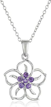 Amazon Collection Sterling Silver Genuine African Amethyst Flower Pendant Necklace, 18