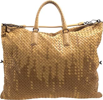 9368ec57649 Bottega Veneta Brown Two Tone Intrecciato Nappa Leather Convertible Tote