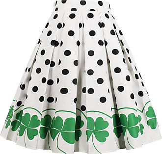 EUDOLAH Womens Vintage Floral Swing Full Circle Pleated Skirts Clover L