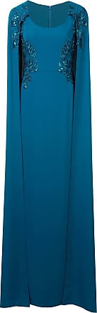 Marchesa cape-effect embroidered gown - Blue