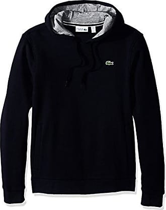 Lacoste Mens Sport Pull Over Hoodie Fleece Sweatshirt, SH2128, Navy Blue/Silver Chine, 4X-Large