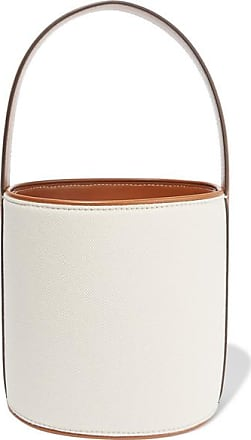 Staud Bissett Leather-trimmed Canvas Bucket Bag - Cream