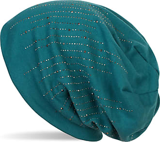 styleBREAKER Beanie hat with Rhinestone Rivets in Classic Stripe Design, Slouchy Long Beanie, Unisex 04024086, Colour:Petrol