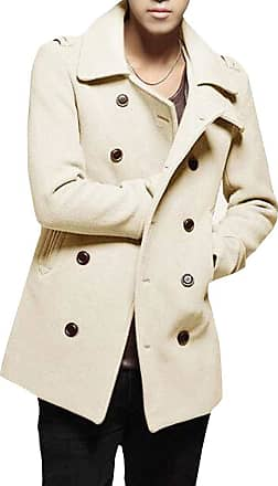 H&E Mens Slim Winter Classical Overcoat Outwear Double Breasted Pea Coat Beige M