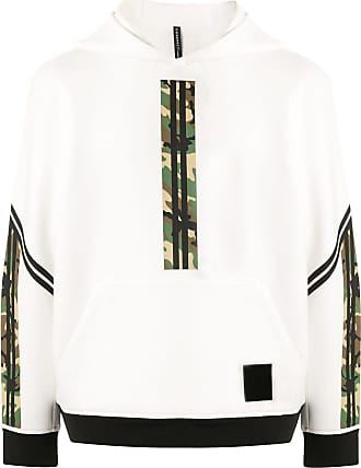Blackbarrett Moletom de capuz com recorte e estampa camuflada - Branco