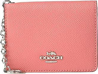 Coach Crossgrain Key Ring Card Case (Bright Coral/Silver) Credit card Wallet