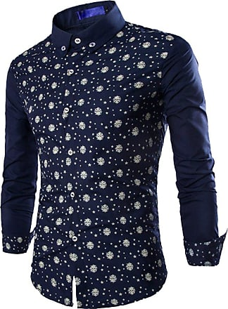 Isshe Mens Dress Shirts Long Sleeve Button Down Shirt for Men Skull Printed Fitted Shirts Male Slim Fit Casual Shirts Collared Office Business Shirt Turn-Do