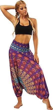 FNKDOR Fashion Style Women Casual Summer Dance Sport Charming Loose Yoga Trousers Baggy Boho Aladdin Jumpsuit Harem Pants Trousers(Purple,Free Size)