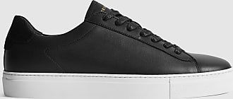 Reiss Finley - Leather Trainers in Black, Mens, Size 10
